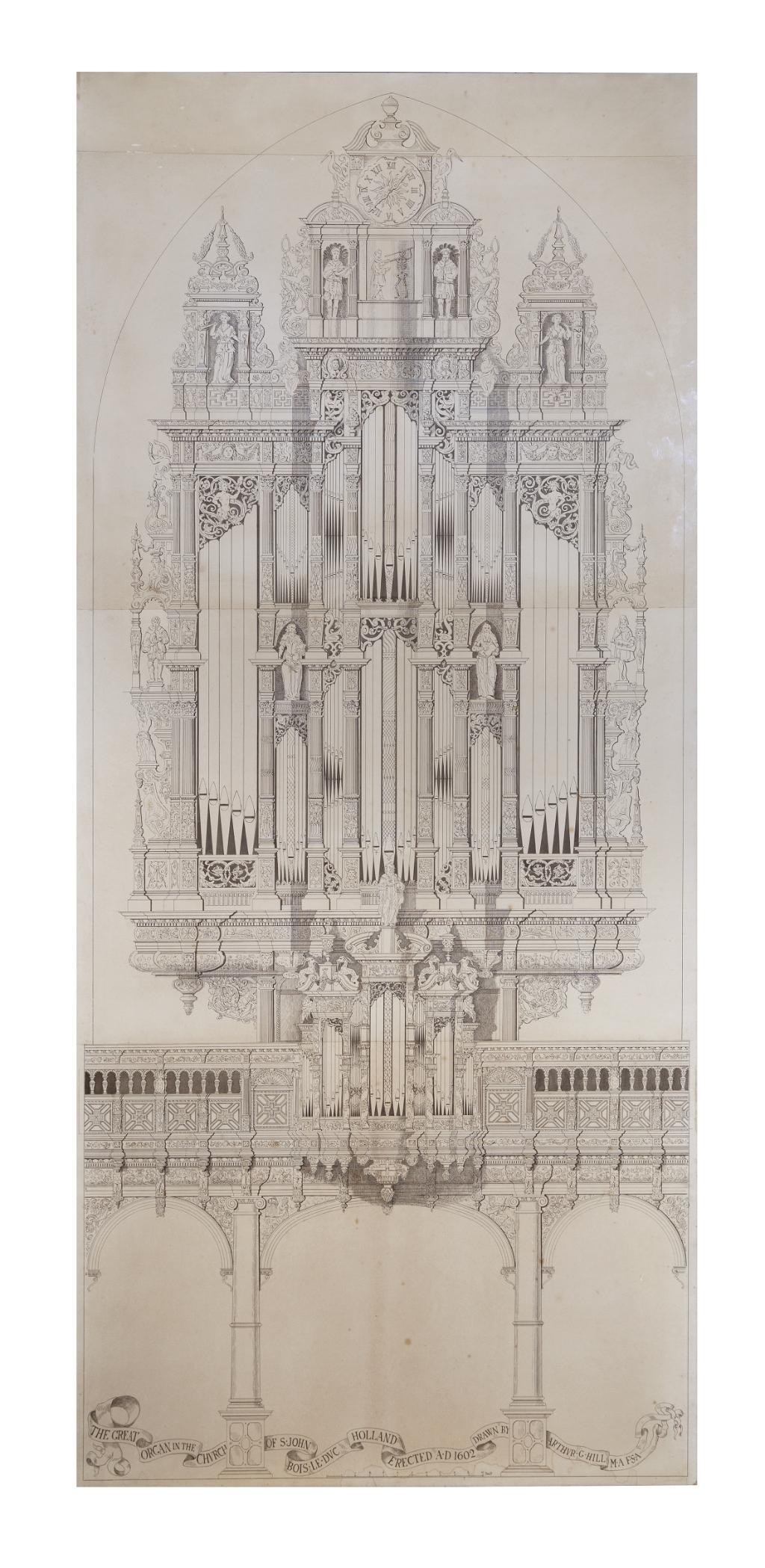 Tekening van het orgel in de Sint-Jan