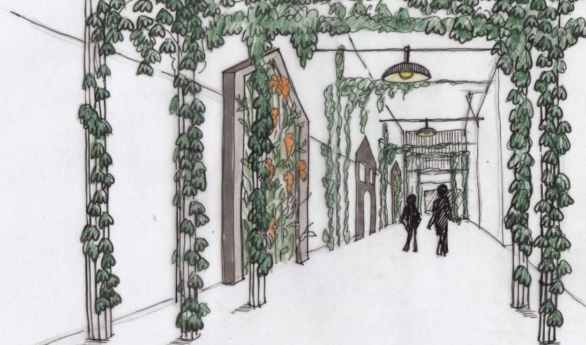 Een artist impression van de nieuwe Beuningsstraat. De huidige fietsenstallingen blijven staan en ontbreken hierop nog.