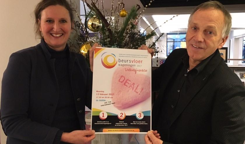 Beursvloer coördinator Machteld Speets en bblthk directeur Sjaak Driessen nodigen iedereen uit voor de Beursvloer 2017 Valentijn editie.