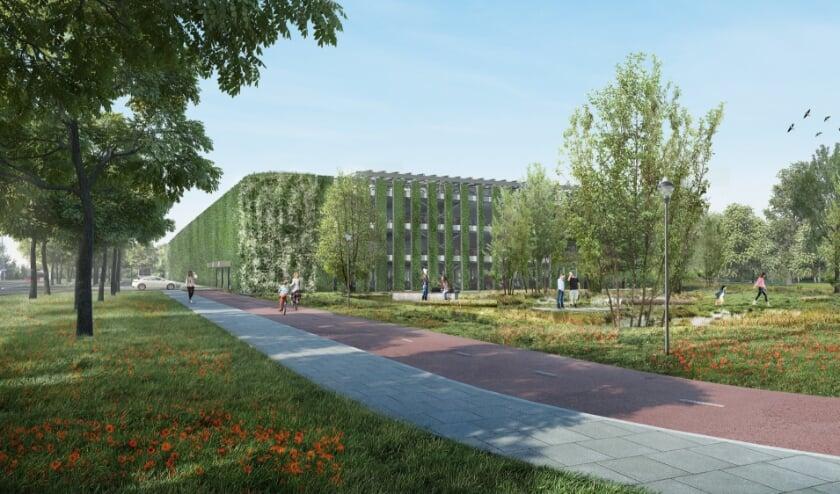 <p>Meer en meer begint de groene parkeergarage te lijken op de impressie die JHK architecten aanvankelijk maakte.</p>