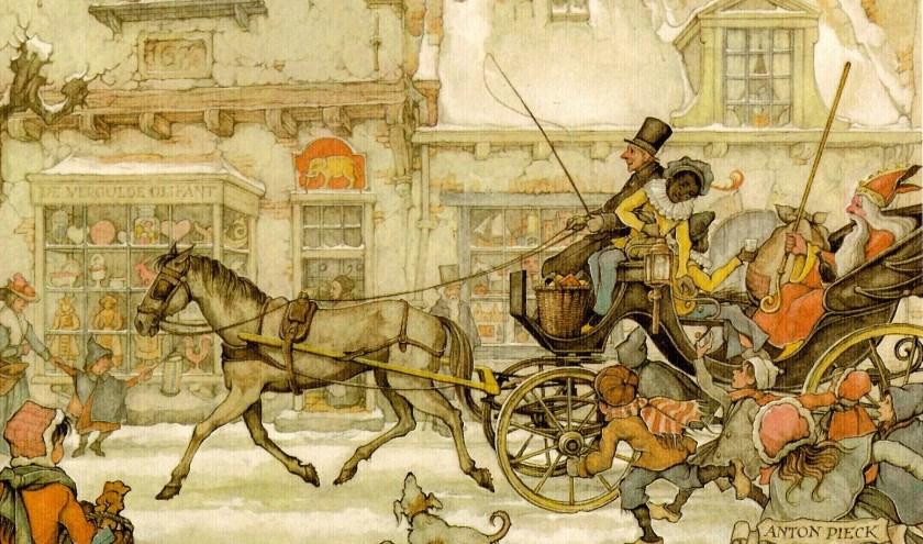 Sinterklaas en zijn pieten in de koets, ingekleurde tekening van Anton Pieck.