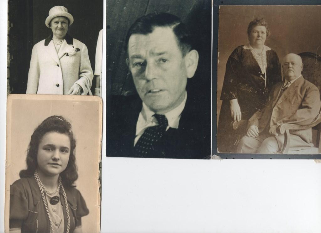 Van links naar rechts: Marie van Velzen-Hendriks, echtgenoot Piet van Velzen, zoon JH van Velzen en SJ van Velzen-Etienne. Onderaan de dochter van Piet van Velzen, Sophia van Velzen.  © DPG Media
