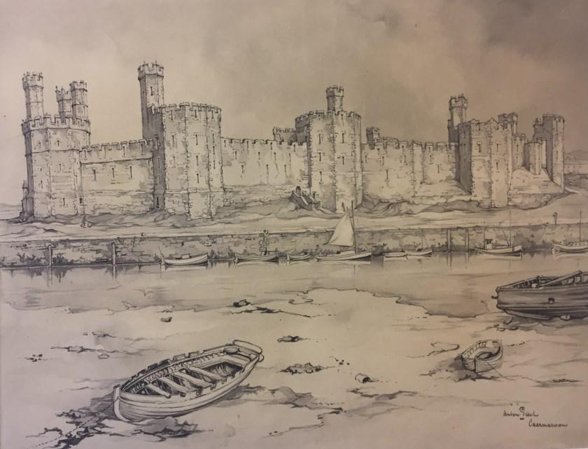 Anton Pieck maakte in Engeland ook deze tekening van het Caernarfon Castle (detail). Foto: Anton Pieck Museum
