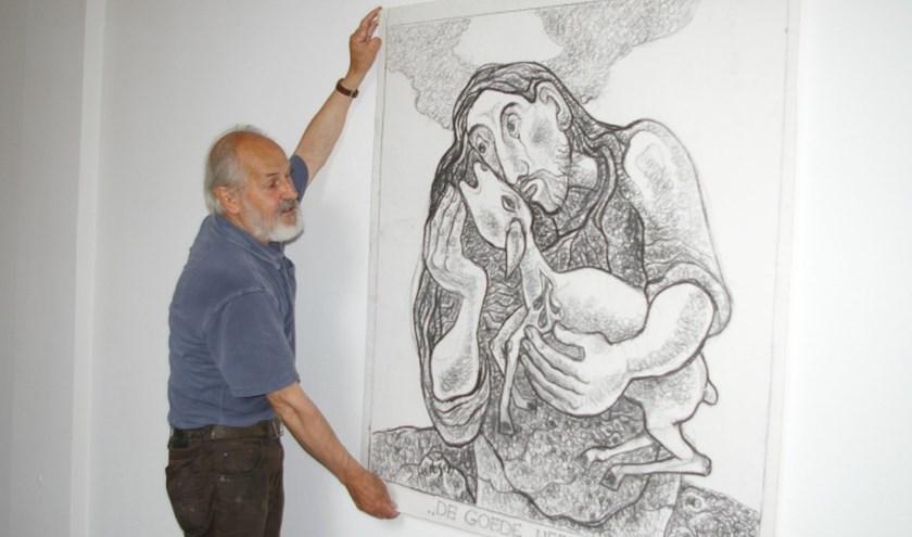 Deze zomer zijn 150 tekeningen van Sjef Hutschemakers te zien in de Andreaskerk in Hattem, een bij elke Psalm uit de Bijbel. Hier de tekening 'De Heer is mijn Herder'. Foto: Frans Tervoort