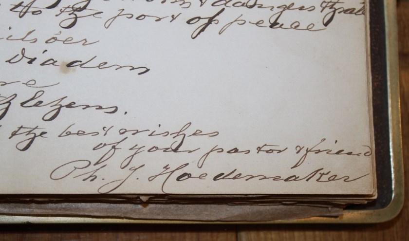 De ondertekening van Hoedemaker gedateerd op 10 januari 1873. Hij schrijft over de 'Ster van Bethlehem'.