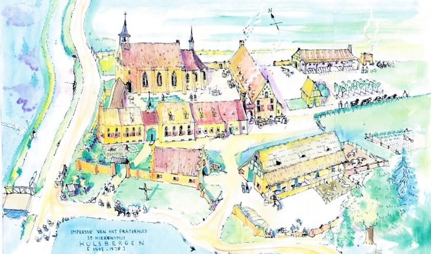 Benard Bos uit Heerde maakte deze impressie van het complex van het klooster St. Hieronymus in de buurtschap Hulsbergen ten noord van Wapenveld. De SRW wil graag verder onderzoek doen naar de exacte locatie.