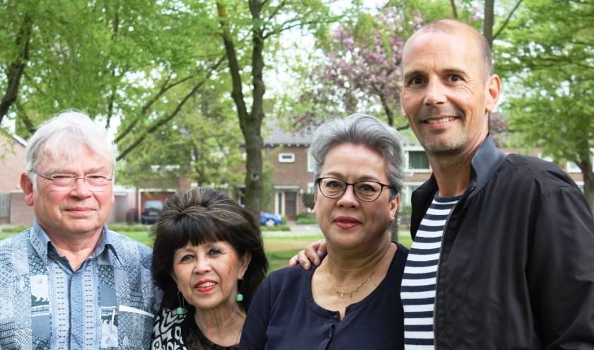 Hans Bommezijn, Joyce Radesey,  Sylvia Huisman en Oscar Sanders van het Indisch Netwerk Eindhoven.