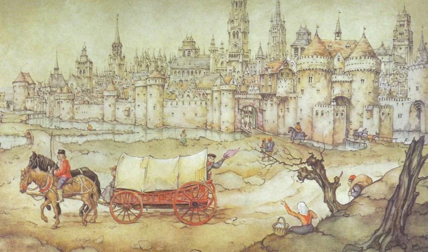 'Voor de poorten van Brugge', een illustratie uit 1951, door Anton Pieck uitgevoerd met potlood en waterverf.