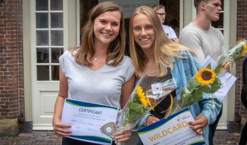 Fleur won de eerste prijs bij Zomerondernemers. Jonna ging naar huis met de wildcard.