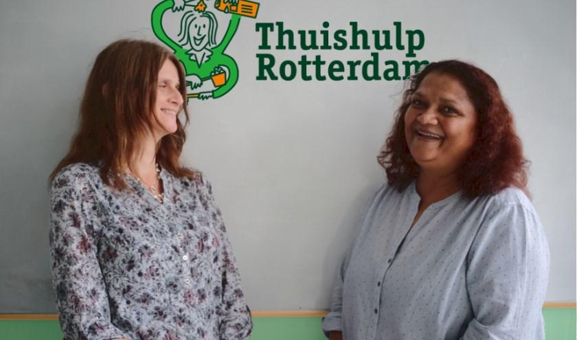 Barbara (links) en Sonia werken met veel plezier bij Thuishulp Rotterdam, een organisatie die op maat gesneden diensten aanbiedt.