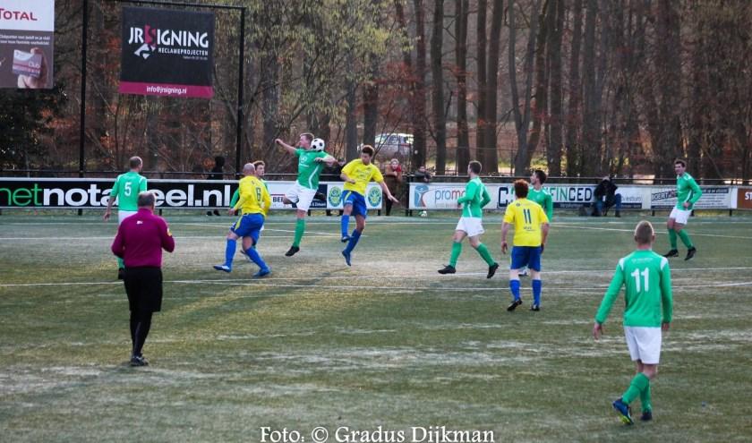 De wedstrijd tussen Hatto-Heim en Olympia'28 eindigde in 3-0 voor de Hattemers. Foto: Gradus Dijkman