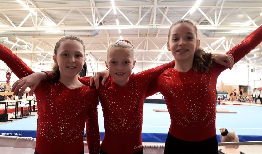 Het succesvolle trio van DOS Sportief bestaande uit Britt Verhoeks, Noëlle Stap en Nienke de Heus. (Foto's: Manuela van Biesbergen