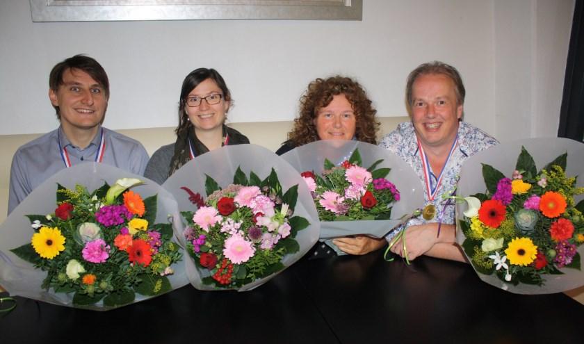Vlnr Nederlands kampioenen Gerbrand Hop, Anne Schoonen, Elianne van Dooren en Ruurd Riewald