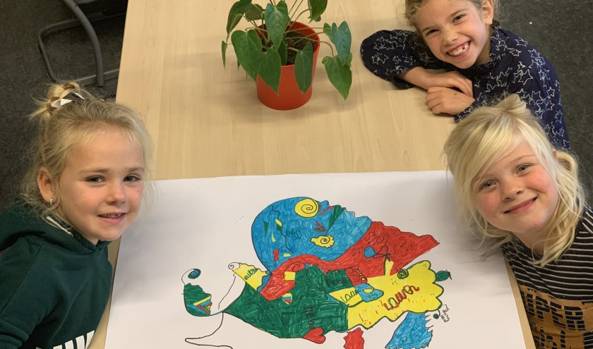 Leerlingen obs Haarzicht maken kunst in de sfeer van Miró.