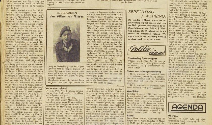 De eerste editie van de Woerdense Courant, toen een abonnement voor de krant 1 gulden en 25 cent kostte. Foto: Regionaal Historisch Centrum Rijnstreek en Lopikerwaard.