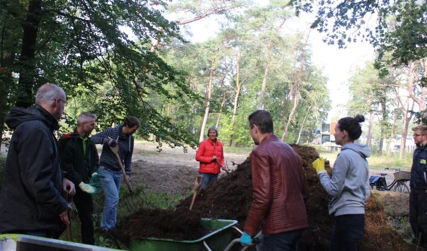 Vrijwilligers aan de slag om nieuwe heide te maken.
