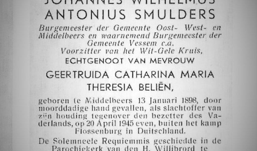 Het bidprentje van het overlijden van Jan Smulders.