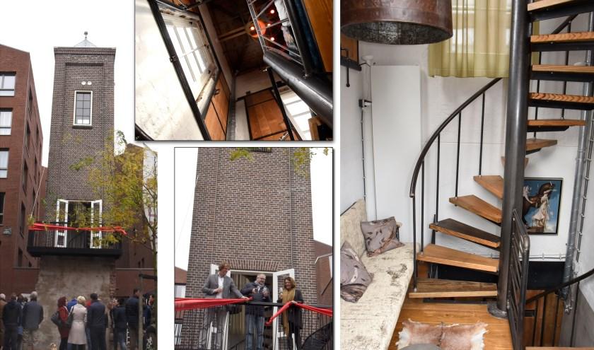 Collage van de B&B in de monumentale watertoren tijdens de opening met een doorkijkje naar de nok en lounge. Foto's: Marianka Peters