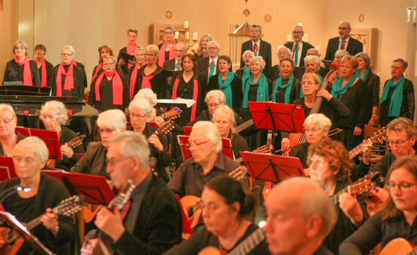 Het koor Opera Gelderland-Oost met op de voorgrond het Regionaal Mandoline en Gitaar Orkest tijdens hun gezamenlijke optreden in de Remigiuskerk in Duiven.