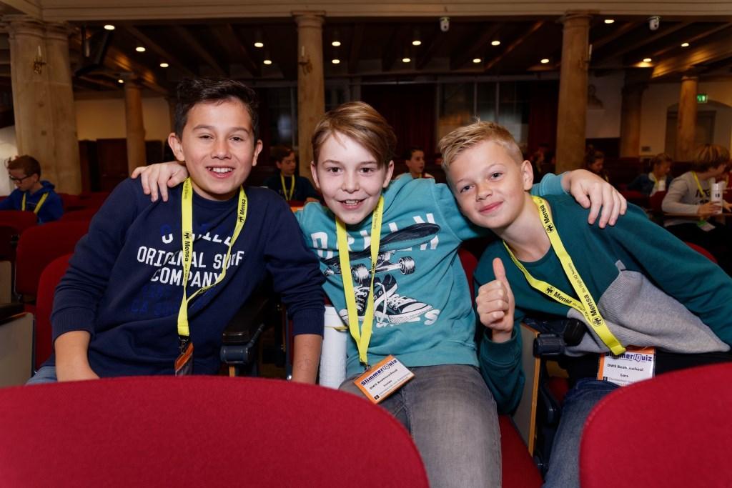 Bas, Lucas en Lars zijn trots op hun gezamenlijke prestatie Foto: Caroline ten Wolde © DPG Media