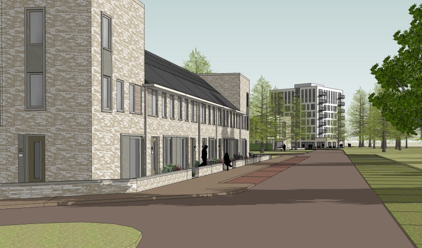 Eengezinswoningen en het appartementengebouw van Woonwaarts in Hof van Nijmegen.