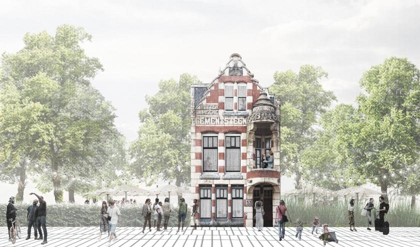 Zo moet het worden, Villa van Waning als spil in de wijk Feijenoord. Met horeca waar het hele park en de wijk bij betrokken wordt. (Beeld: New Industry)