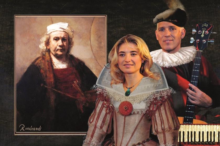 Hans Visser en Irena Filippova voor een portret van de man over wie ze het in hun voorstelling uitgebreid hebben: Rembrandt van Rijn.
