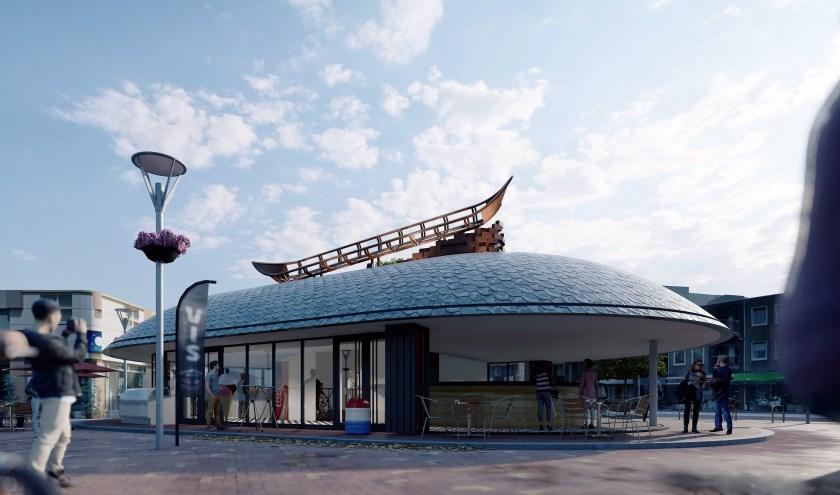 Zo zal het straks te zien zijn op het Vispaviljoen: kunstwerk De Aak dat herinnert aan vroeger tijden. (Virtual Architecture bv Panhuis)