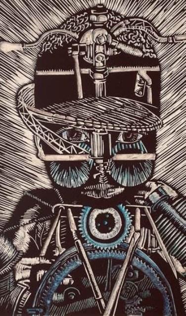 Fragment van een kunstwerk uit het atelier van Sasha Zuidam.