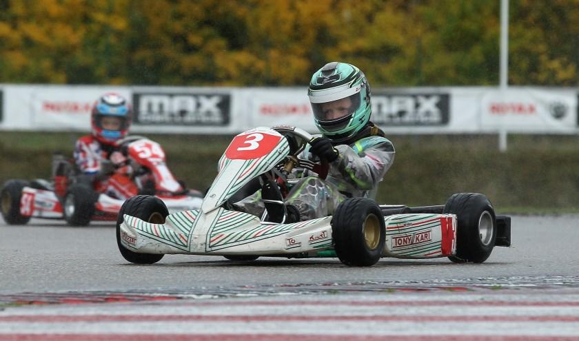 Mats tijdens de race.