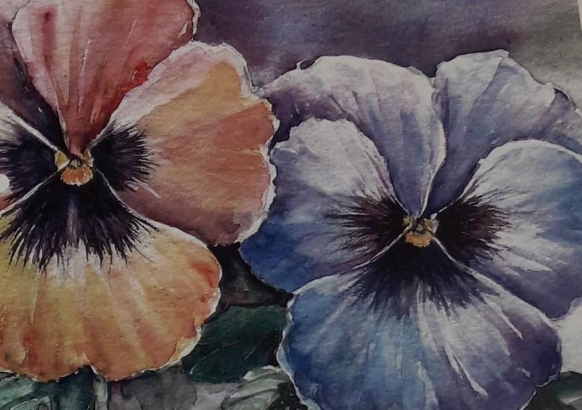 Een prachtige aquarelschildering van twee violen.