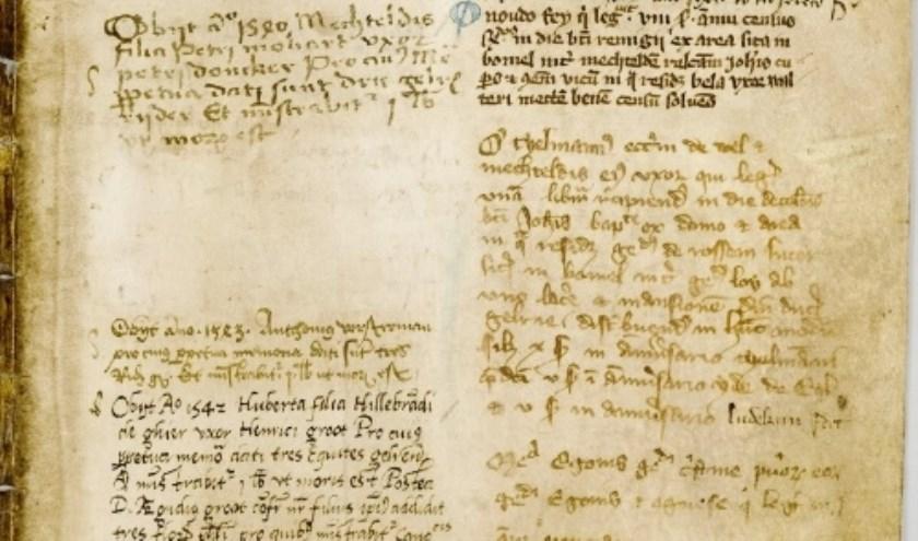 Folio uit het obituarium van het kapittel, met een inschrijving op 28 juni voor 'B'nard' van Vueren fundator 't institutor'.