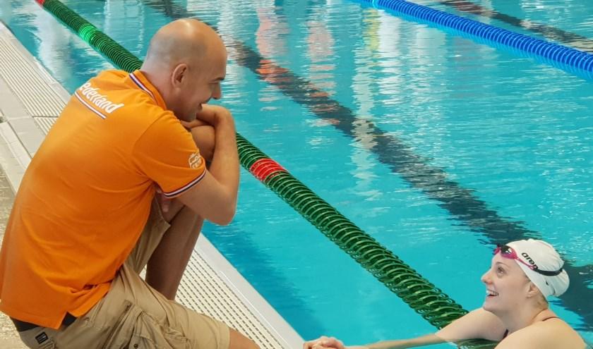 Marcel Wouda (Nederlands zwemcoach) en Marrit Steembergen (HPC-Dz&Pc)