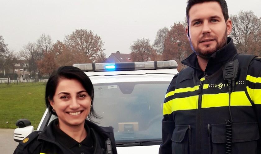Sander Veldhuizen en Leyla Aslan: bij het skateplekje op Landgoed Kinderdorp. Helaas! Net geen jongeren aanwezig!