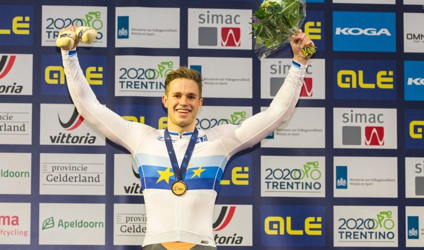 Wereldkampioen sprint Harrie Lavreysen voegde dit jaar ook de Europese titel keirin aan zijn palmares toe. Foto: Peter van Rooij