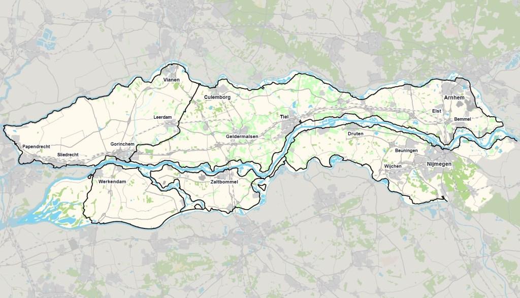 Overzicht van de rivierdijken in beheer van Waterschap Rivierenland  Foto: Krom, Jelmer © DPG Media