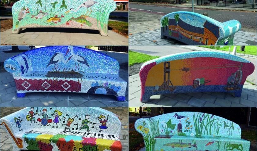 Het straatbeeld in Oudewater is echt vrolijker geworden van al die mooie mozaiekbanken. Papekop volgt.