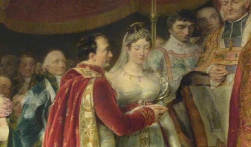 """<p pstyle=""""PlatteTxt"""">Het huwelijk van Keizer Napoleon I van Frankrijk met Keizerin Marie Louise, Aartshertogin van Oostenrijk op 2 april 1810.</p>"""