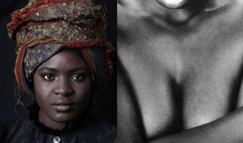 Links: Veronique Efomi, fotograaf: Alice de Kruijs. Rechts: Angèle Etoundi Essamba, Noir 37, foto, 2001. Collectie Museum Arnhem.