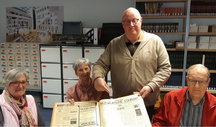 De oude Rijswijksche Couranten zijn wel heel belangrijk voor de projectgroep Herenstraat