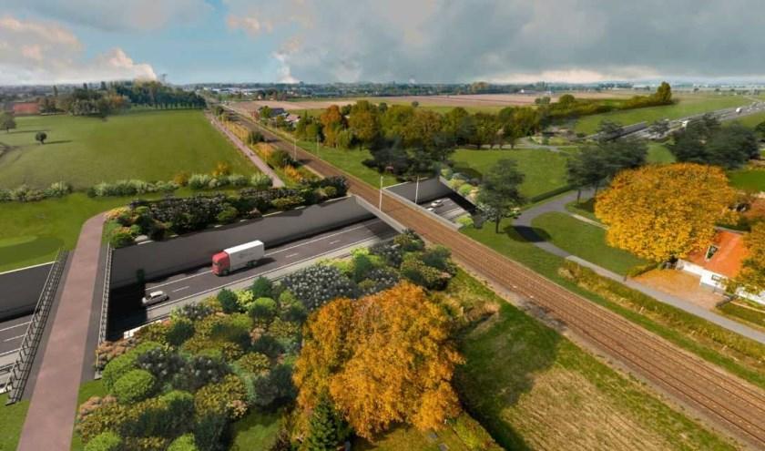 Een impressie van de verdiepte ligging van de A15 ter hoogte van Groessen.