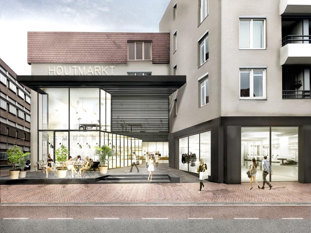 De entree van de nieuwe Houtmarkt op de hoek van de Oude Vest en de Kerkstraat zal er na de complete metamorfose zo uit komen te zien.  © DPG Media