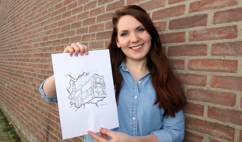 """Rianne te Kaat: """"Ik vind het een erg tof idee om het dorp op de fleuren met verschillende muurschilderingen."""" (foto: Zefanja Hoogers)"""
