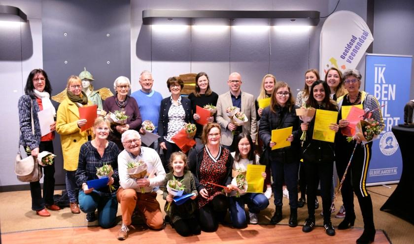 De winnaars van de manifestatie Beeldend Veenendaal bijeen. (Foto's: Pieter Vane)
