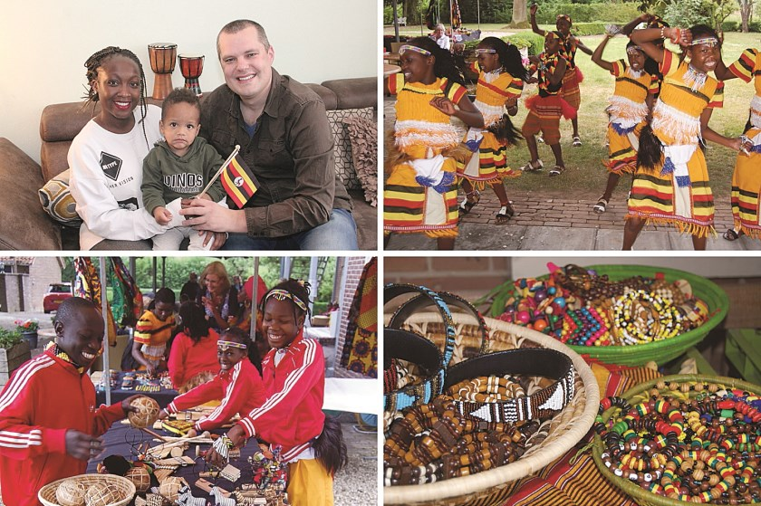 Oeganda staat voor kleurrijk en uitbundig. Linksboven Jackie Namakula die de Oeganda-dag organiseert met haar Stichting Ddembe.