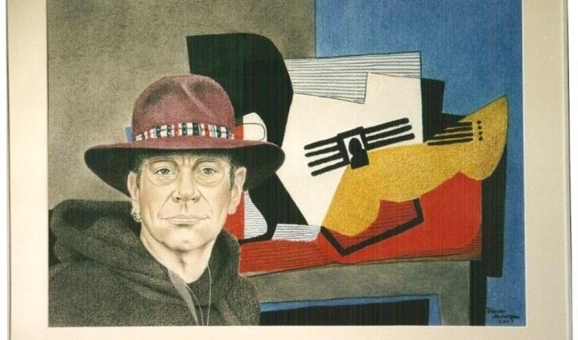 Eén van de schilderijen van Wim van Antwerpen die te zien zijn tijdens de expositie.