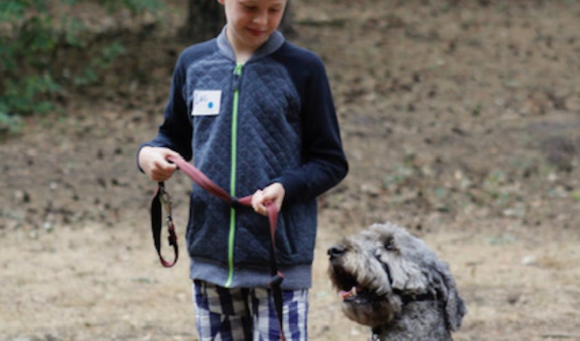 Er is een parcours uitgezet waar kinderen met een hulphond doorheen kunnen lopen. FOTO: Joy Mennings.
