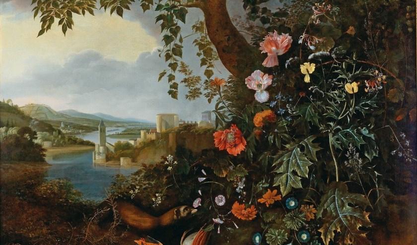 Matthias Withoos (Amersfoort 1627 - Hoorn 1703), Sottobosco met landschap en jachtstilleven (ca 1665 - 1675), olieverf op doek, 105 x 141 cm.