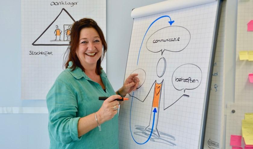 Zorg Andersom, gelegen aan de Olivier van Noortlaan, richt zich op ouders, leraren en zorgprofessionals. Jolanda zet haar woorden kracht bij aan de hand van haar typische tekeningen. (Foto: Britt Planken)