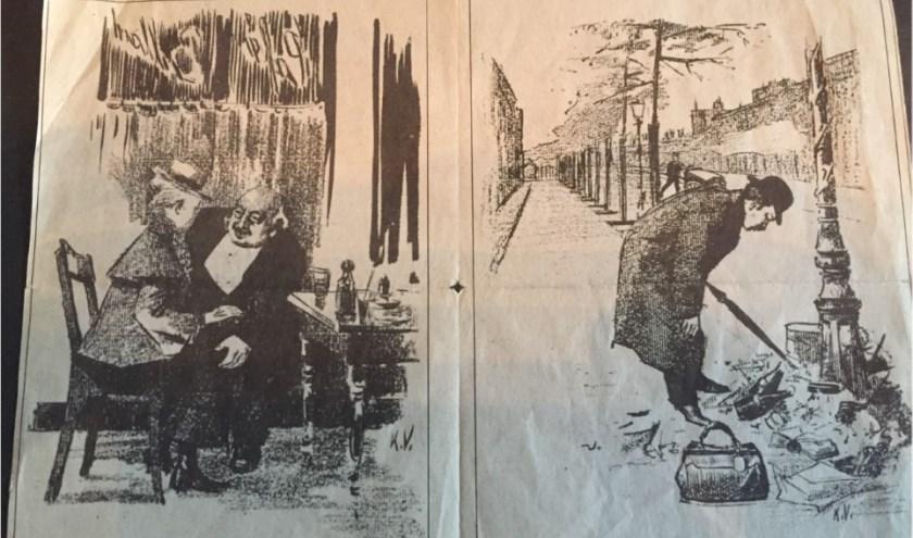 Een krantenknipsel van rond 1900 met afbeeldingen gemaakt door Karel Verbruggen. Eigen foto.